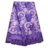 SanVera17 African Lace Net Fabrics Nigerian French Fabric Rope Embroidered and Manual Beading Guipure Cord Lace for Party Wedding 5 Yards (Purple2) (Color: Purple2, Tamaño: 48 Inches)