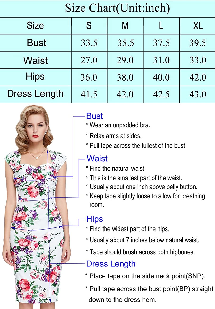 Belle Poque Women 50s Bodycon Dress Slim Vintage Pencil Dress BP106/146 2