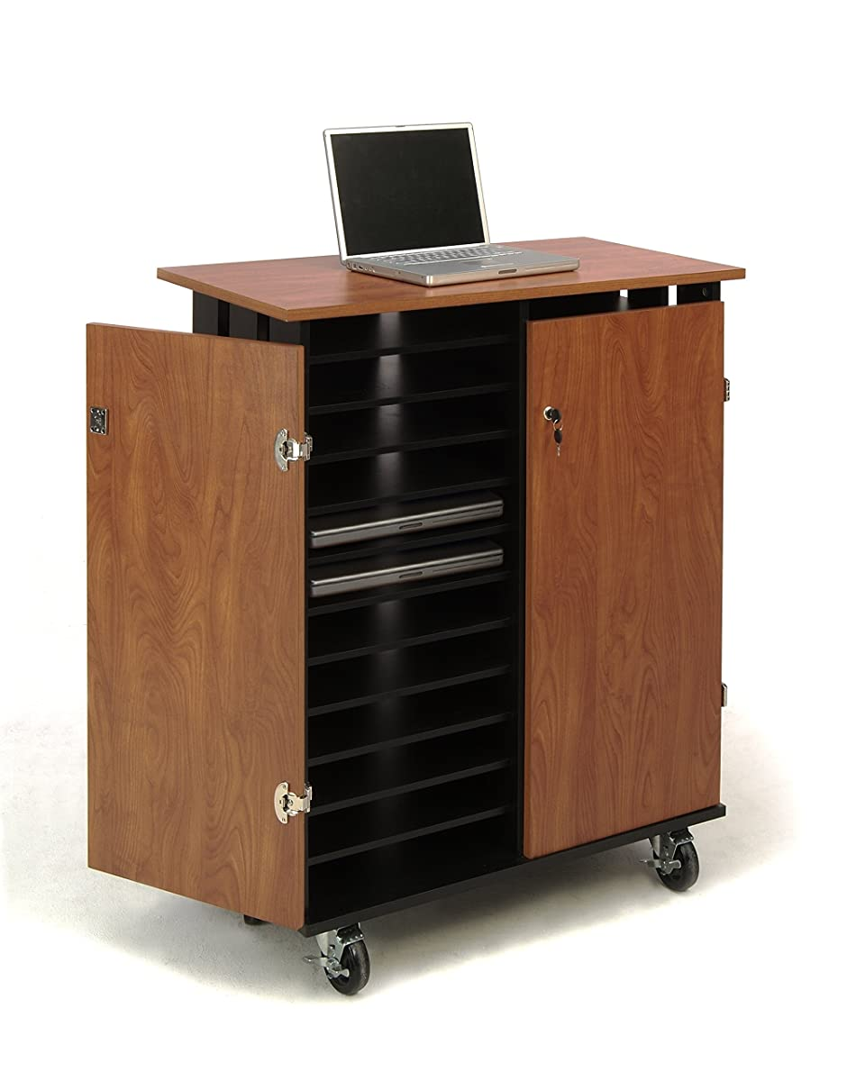 """Oklahoma Sound LCSC Laptop Charging and Storage Cart, 37"""" Length x 19-1/2"""" Width x 43-1/4"""" Height, Wild Cherry/Black"""