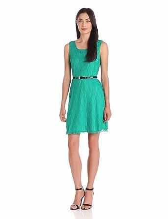 Star Vixen Women's Sleeveless Lace Skater Dress With Belt, Jade, Large