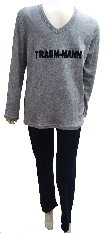 Herren Pyjama Schlafanzug Traummann von Louis & Louisa Baumwolle grau blau günstig bestellen