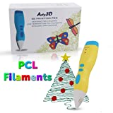3D Printing Pen 3D Drawing Pen PCL Filaments Art and Craft Doodler Low Temperature Safe for Kids Modeling Pen Wireless USB Charging Clog Free Arty3D Yellow (Color: Yellow)