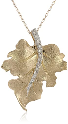 10k-Yellow-Gold-and-Diamond-Leaf-Pendant-Necklace-1-10-cttw-I-J-Color-I2-I3-Clarity-18-