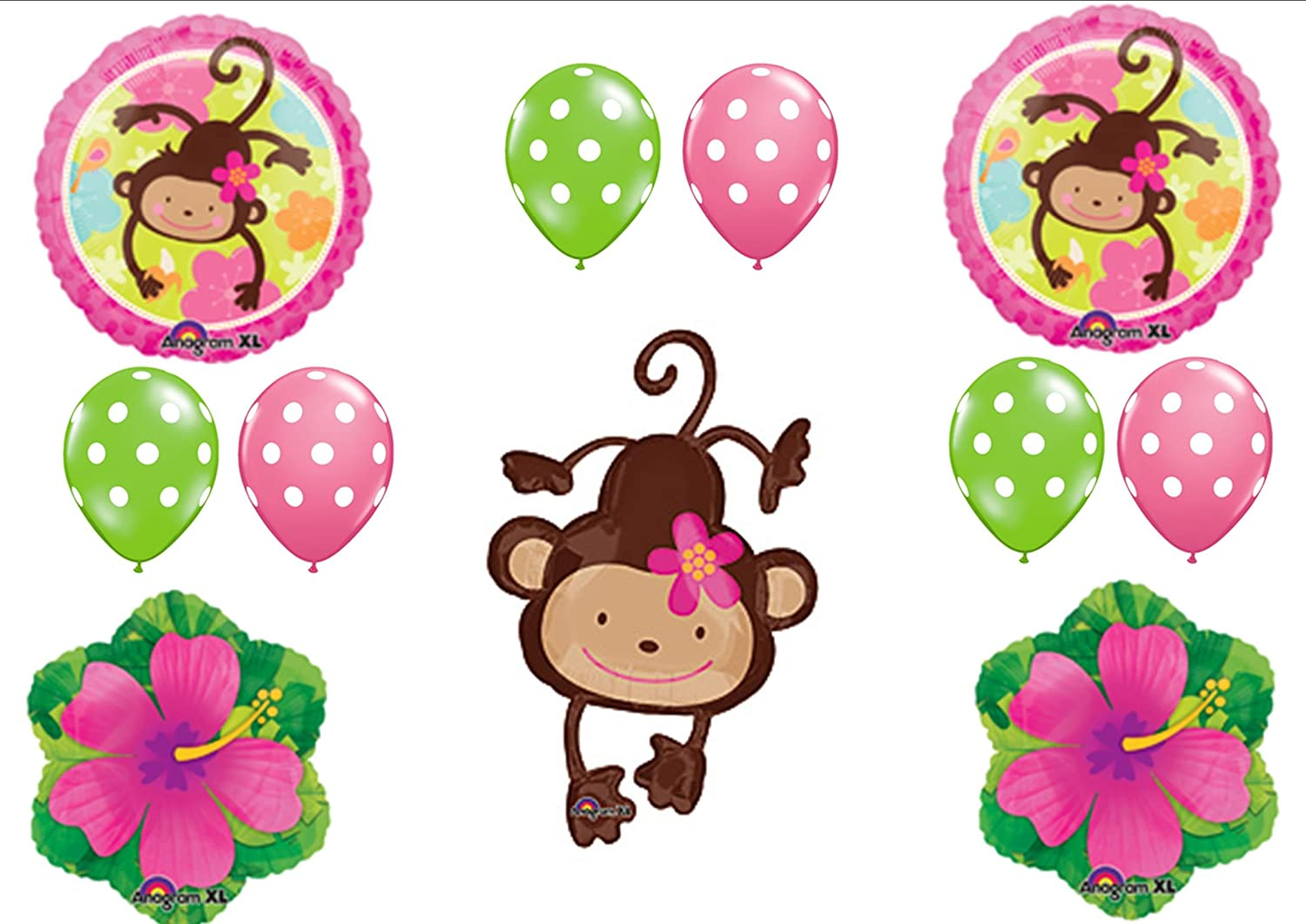 Pink monkey baby shower balloons baby shower mania - Monkey balloons for baby shower ...