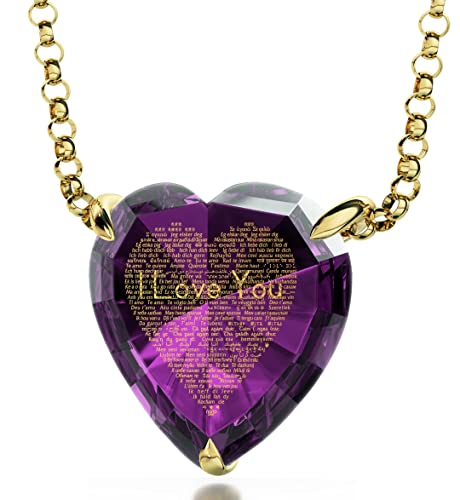 Engraved Heart Necklace I Love You Pendant Inscribed in 120 Languages in 24kt Gold Romantic Wife Jewelry