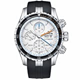 Edox Men's 'Grand Ocean' Swiss Automatic Stainless Steel and Rubber Diving Watch, Color:Black (Model: 01123 3ORCA ABUN) (Color: White/Black)
