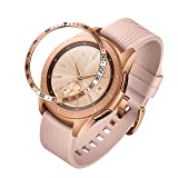 ANCOOL Compatible Samsung Galaxy Watch 42mm/Gear Sport Bezel Ring Adhesive Cover Anti Scratch Stainless Steel Protector Design for Galaxy Watch 42mm/Gear Sport -Rose Gold (Color: Q-12, Tamaño: 42mm)