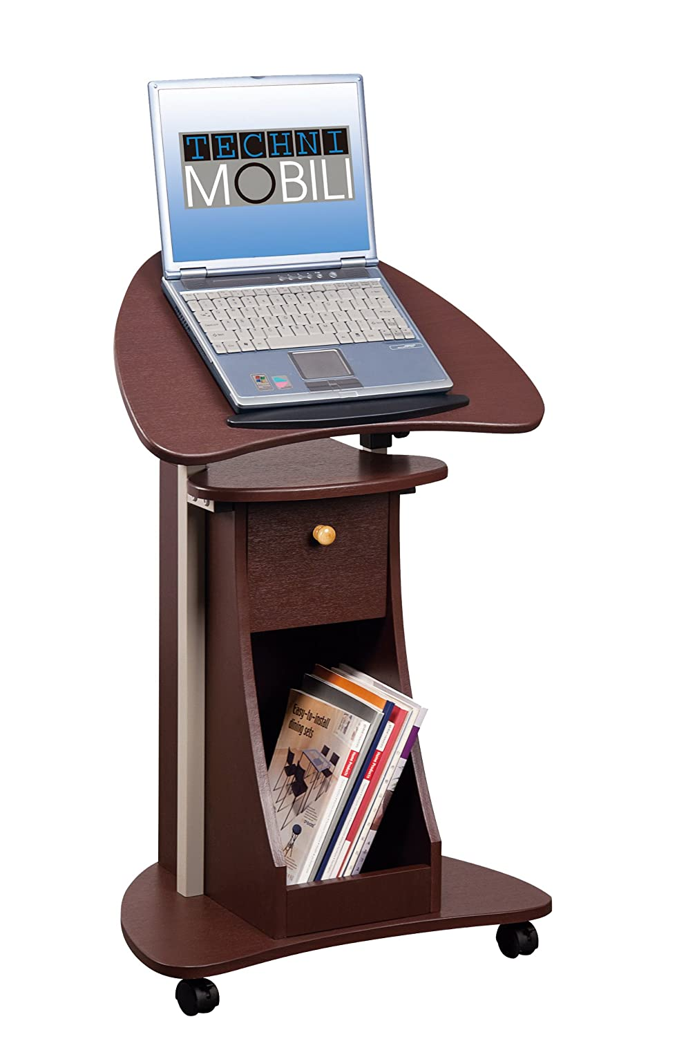 Office Portable Laptop Rolling Desk Adjustable Table Cart