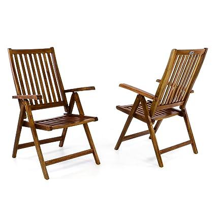 DIVERO Stuhl Akazie Holz 2er Set Hochlehner 5-fach verstellbar klappbar Garten