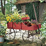 Charming Primitive Country Multi Use Wagon Cart Flower Pot Plant Holder Garden Decor (Red) (Color: Red)