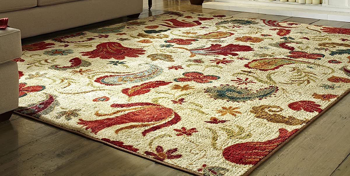 Mohawk Home Strata Tropical Acres Paisley Floral Printed Area Rug, 76 x 10, Tan