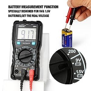 Digital Multimeter MESTEK AC DC Multimeters Current Voltage Auto-Ranging NCV Voltage Tester Amp Volt Ohm Hz Diode Resistance Meter with Battery Electric Test Lead Probes & Alligator Clips for Home Car (Color: Black, Tamaño: Medium)