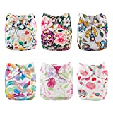 Babygoal Cloth Diaper Cover for Girls,Baby Adjustable Reusable Covers for Fitted Diapers and Prefolds, Baby Girl Clothes, 6pcs Diaper Covers+One Free Wet Bag 6DCF04 (Color: Flowers, Tamaño: All in one)