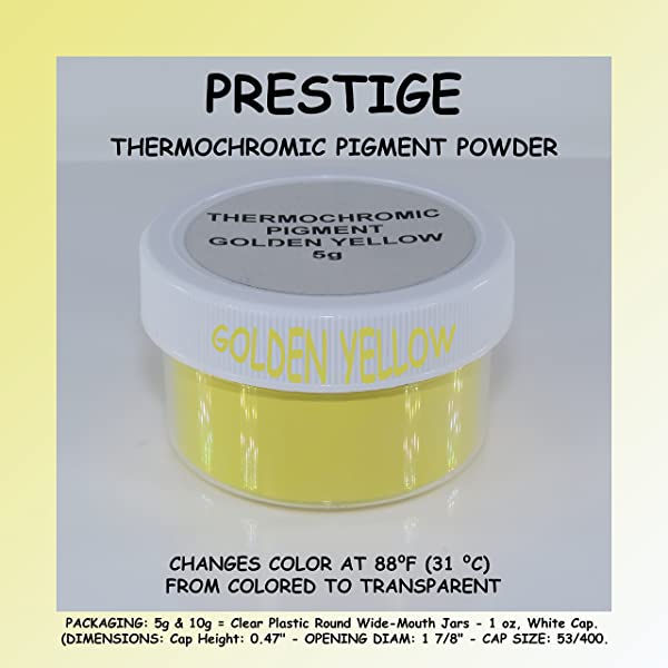 Prestige THERMOCHROMIC Pigment That Changes Color at 88°F (31 °C) from Colored to Transparent (Colored Below The Temperature, Transparent Above) Perfect for Color Changing Slime! (5g, Golden Yellow) (Color: GOLDEN YELLOW, Tamaño: 5g)