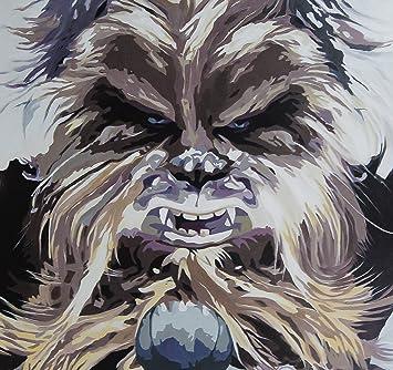 Star Wars Chewbacca de pintura al óleo 28 x 28 de arte pintado a mano, no es un Giclée, o Póster de cuadro. Este es un diseño de flores de arte basado en el Maestro Jedi! Pinceladas y la textura de la son evidentes y se trata d
