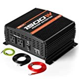 POTEK 1500W Power Inverter Dual AC Outlets DC 12V to 110V AC Car Inverter with 2 USB Ports (Color: Black, Tamaño: 1500W)