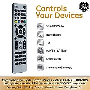 GE 4 Device Universal Remote, Smart TVs, LG, Vizio, Sony, Blu Ray, DVD, DVR, Roku, Apple TV, Streaming Players, Simple Setup, Auto Scan, Pre-Programmed for Samsung TVs, Silver, 33709 (Color: Nickel)