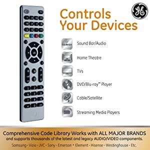 GE 4 Device Universal Remote, Smart TVs, LG, Vizio, Sony, Blu Ray, DVD, DVR, Roku, Apple TV, Streaming Players, Simple Setup, Auto Scan, Pre-Programmed for Samsung TVs, Silver, 33709 (Color: Nickel)