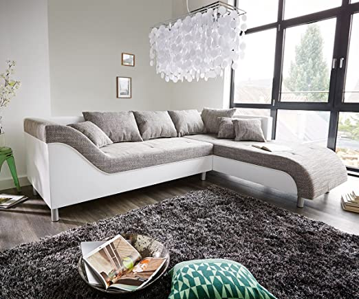 Couch Cadiz Weiss Hellgrau 261x204 geschwungene Armlehne Ecksofa