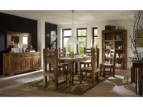 Massivum Cubus Esstisch mit 6 Stuhlen, Holz, braun, 90 x 160 x 76 cm