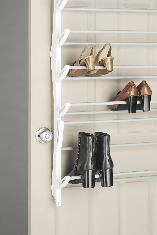 Whitmor Over the Door Shoe Rack - 36 Pair - Fold Up, Nonslip Bars