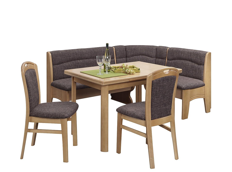 Schösswender Eckbankgruppe Würzburg in Buche natur lackiert besteht aus Vierfußtisch und zwei Stühlen, Bezug Corbin 5204, braun
