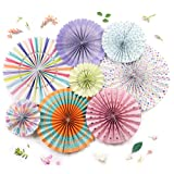 PapaKit Origami Wall Decoration Set (8 Assorted Round Paper Fans) Birthday Party Baby Shower Wedding Events Decor   Creative Art Design Pattern (Festive Colors with Mixed Patterns, 8 Piece Set) (Color: Festive Colors - Mixed Patterns, Tamaño: 8 Piece Set)