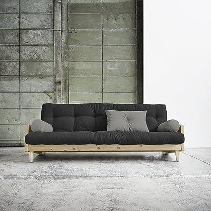 Karup–Indie, sofá cama compuesto de futón gris oscuro sobre estructura de madera natural