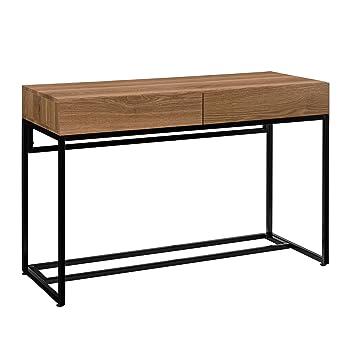 [en.casa] Stylischer Schreibtisch mit zwei Schubladen (110x45cm) - Eichenoptik Design Konsole