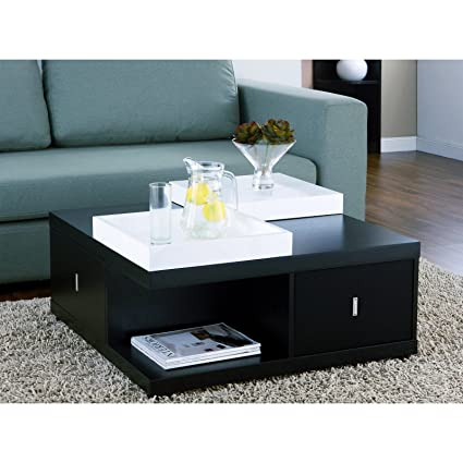 Metro Shop Furniture of America Mareines Black Coffee Table with Serving Trays