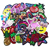 Qingxi Charm 32pcs Assorted Styles Sequins Sewing on/Iron on Embroidered Patches Clothes Dress Hat Pants Shoes Curtain Sewing Decorating DIY Craft Embarrassment Applique Patches (Sequins 32pcs) (Color: Sequins 32pcs)