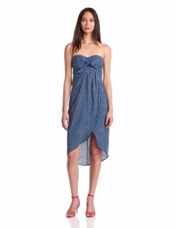 Plenty by Tracy Reese Women's Spotted Zig Sag Sarong Strapless Dress, Snorkel Spotted, 0