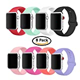 8 Pack Band for Apple Watch 38mm 42mm, Soft Silicone Sport Strap Replacement Bracelet Wristband for Apple Watch Series 3, Series 2, Series 1, Nike+, Edition, S/M M/L Size (Multicolor 1, 42 mm S/M) (Color: Multicolor 1, Tamaño: 42 mm S/M)