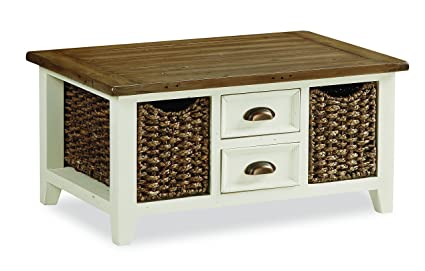 Global Home Products Collection 128 Coffee Table with Basket, Wood, Multi-Colour, Large