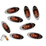 Conjunto de 8 luces LED AutoSmart 2 KL-15114AE,  Ámbar ovalala, espacio de luces LED de indicación lateral, cromado de bizel para trailer y camiones