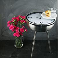 Shabby Chic Retro Clock Bed Side Coffee Table (Stainless Steel)