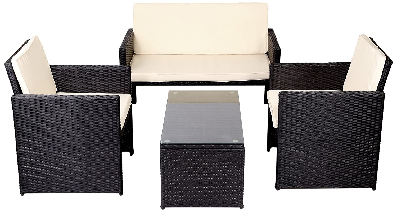 gartenm bel outdoor sitzgruppe aus rattan premium schwarz g nstig kaufen. Black Bedroom Furniture Sets. Home Design Ideas