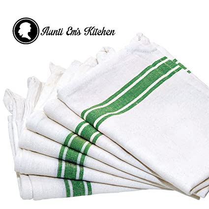 Natural Cotton White with Green Stripe Vintage Design Kitchen Dish Towel Set of 6 by Aunti Em's Kitchen