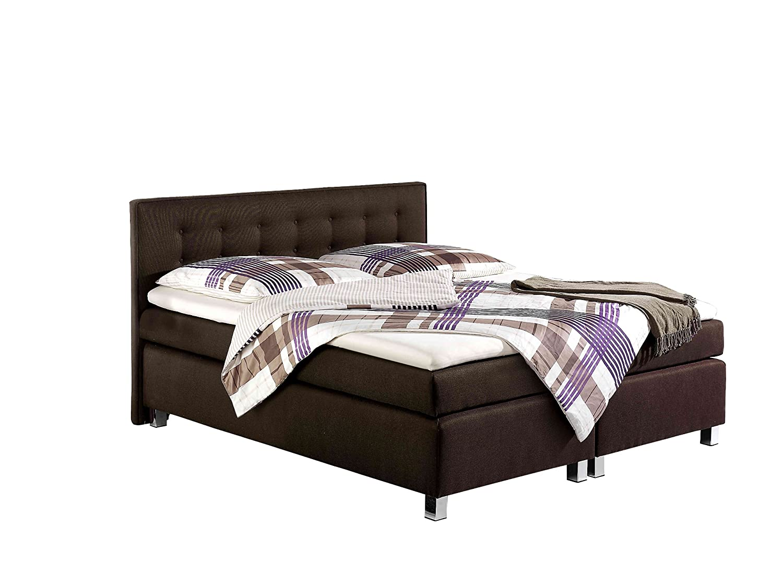 Maintal Betten 235898-3129 Boxspringbett Katar 180 x 200 cm inklusive Topper, braun