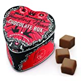 Bursting Heart Chocolate Box: 2.8 Oz Metal Box of 8 Milk Chocolate Cubes Filled with Hazelnut Praline and Roasted Coconut Bits by Bald Man Max Brenner - Kosher