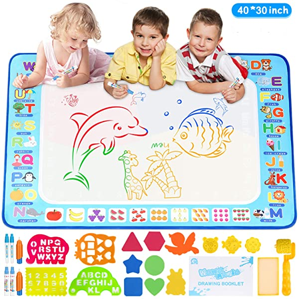Adsoner Water Magic Mat, Aqua Drawing Magic Mat, Water Painting Doodle Mat with 6 Magic Pens Developmental Educational Toys for Toddlers Kids (40 X 30 Inches) (Tamaño: 40 X 30 Inches)