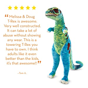 Melissa & Doug T-Rex Jumbo Plush Dinosaur (Lifelike Stuffed Animal, Over 4 Feet Tall), Great Gift for Girls and Boys - Best for 3, 4, 5, and 6 Year Olds (Color: Green, Tamaño: 1 EA)