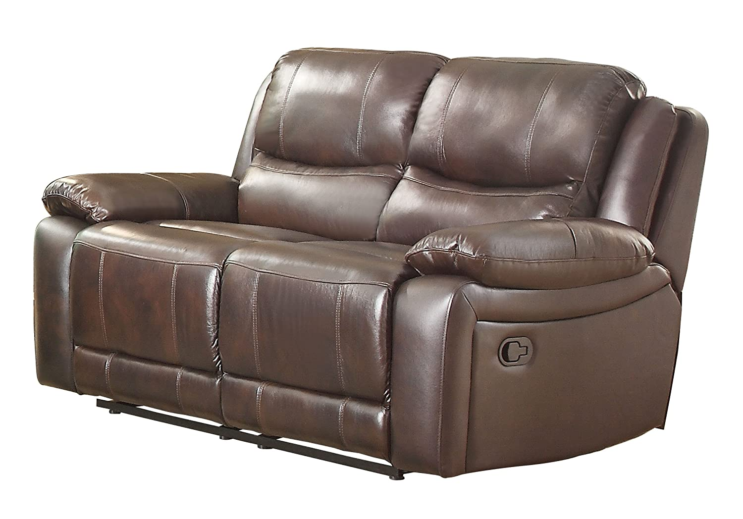 Homelegance Double Genuine Leather Dark Brown Reclining Loveseat