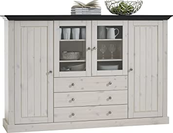 Steens Monaco 2+2 Glazed Door 3-Drawer Pine Display Cabinet, Whitewash/Dark Stain