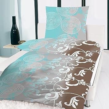 microfaser bettw sche t rkis ocean braun kreise muster 135x200 cm dc344. Black Bedroom Furniture Sets. Home Design Ideas