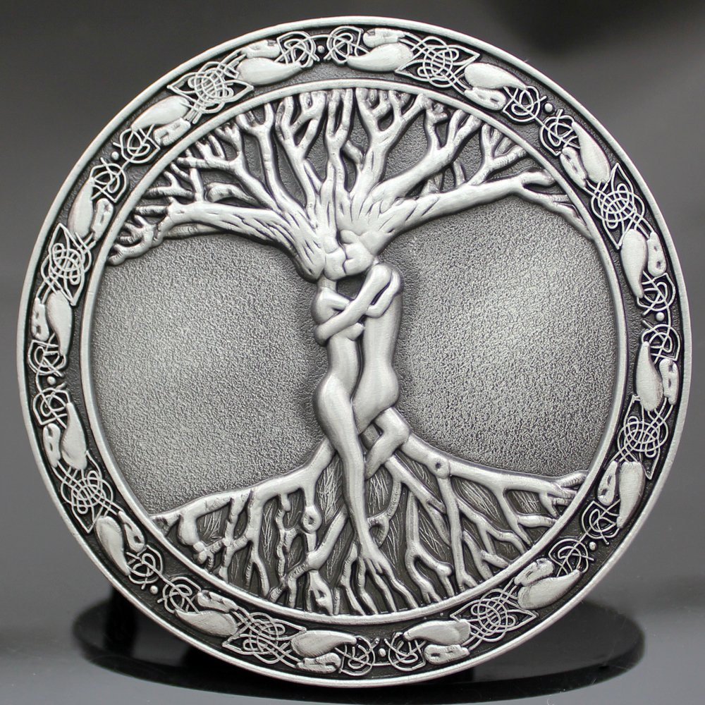 Q&Q Fashion Men Vintage Silver Celtic Tree Of Life Love Nordic Mythology Pagan Wicca Belt Buckle 1