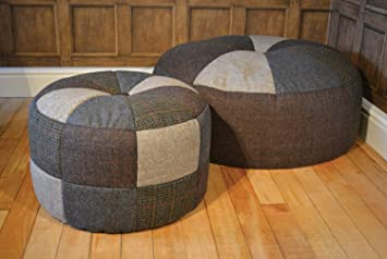 Tetrad Harris Tweed Patchwork Pumpkin Stool with Leather Hide Button in Small Handmade to Order