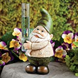 Bits and Pieces Garden Décor-Hand Painted Gnome Rain Gauge Sculpture for Your Garden, Lawn or Patio - Charming, Durable, Weather Resistant Polyresin Statue