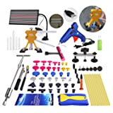Super PDR 68Pcs Auto Body Paintless Dent Removal Tools Kit LED Reflect Light Board Dent Lifter Bridge Puller Set For Car Hail Damage And Door Dings Repair