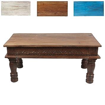 Couchtisch Wohnzimmertisch Holztisch Beistelltisch aus Indien Shabby Chic Braun 100 cm K2